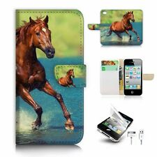 iPhone 4 4S Flip Wallet Case Cover! S8615 Horse