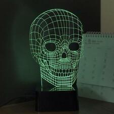 3D RGB Cranial Skeleton Head Dimmer Table Lamp Acrylic LED Night Light Micro USB