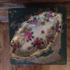 Antique Hand Painted Nippon Dish with Red Roses