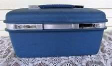 Vtg Blue Samsonite Carry On Cosmetic Train Hard Case Luggage Suitcase w/Tray
