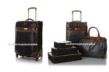 """Samantha Brown 5-pc Classic Luggage With 21"""", Dowel & Cubes + 25"""" Spinner Black"""