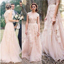 Vintage Lace Wedding Dresses Cap Sleeve Bridal Gowns Custom SZ 6 8 10 12 14 16++