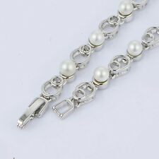 Womens lucky Silver Plated white pearl bracelet jewelry For friendship vintage