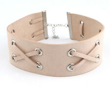 LEATHER BIB CHOKER PINK NECKLACE RIBBON KNOTTED LEATHER EVERYDAY FASHION COLLAR
