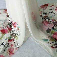 2 Yds Positonal Print Chifon Material Flowers Pattern Chiffon Fabric Gauze Red