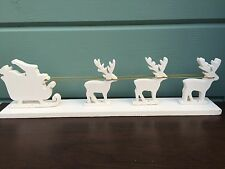 Christmas White Wooden Laponia Santa's Sleigh Standing Decoration Sass & Belle