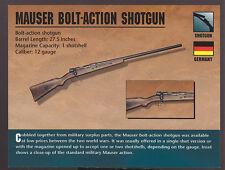 MAUSER BOLT-ACTION SHOTGUN 12 Gauge Germany Atlas Classic Firearms Gun CARD