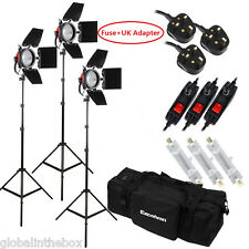 3x800W Red Head Studio Light Kit Video Dimmers+ Bag+Bulb+Barndoor Photography UK