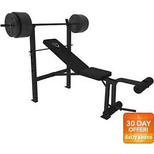 CAP Barbell Deluxe Bench with 100 lb Weight Set Gym Workout Fitness Home Lifting
