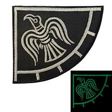 viking raven banner odin god of war glow dark GITD embroidered mighty hook patch