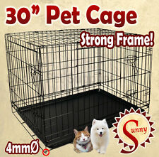 "30"" Medium Size Collapsible Pet Puppy Dog Cage Metal Crate Kennel Rabbit House"