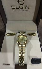Elgin New Old Stock Genuine Diamond Gold Tone Women Watch  With Case Case