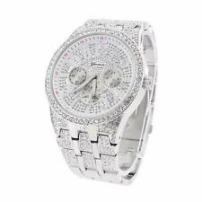 Mens White Silver Tone Wrist Watch Zircon Stones Iced Out Rapper Wear Hip Hop XL