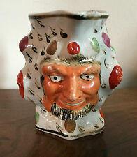 Antique Staffordshire Pearlware Jug Pitcher Pottery Satyr Devil Mask 19th c.
