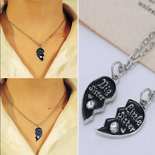 2PCS Big Sister Little Sister Crystal Heart Pendant Necklace Jewelry Family Gift
