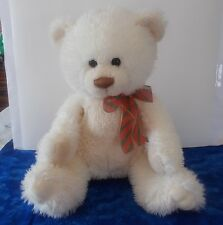 """White Cream Aurora Soft Fluffy Bear with Red and Green Ribbon 11 1/2"""""""