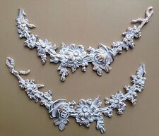 Pair of decorative resin mouldings furniture shabby chic crafts appliques