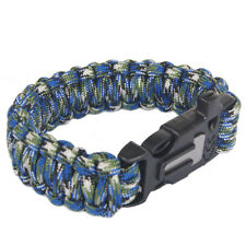 Outdoor Survival Camo Paracord Bracelet Flint Fire Starter Scraper Whistle Kits