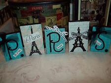 Shabby PARIS wall decor blocks sign blue teal and black FRENCH Eiffel Tower