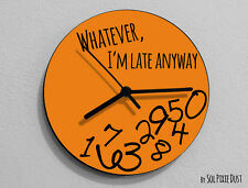 Whatever I'm Late Anyway / Round Orange- Wall Clock