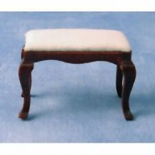 Mahogany Footstool With Fixed White Cushion, 1.12 Scale Doll House Miniature