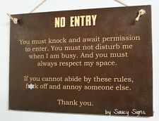 No Entry F*ck Sign - Welcome Door Wooden Office Warning Shed Man Cave Bar Sign