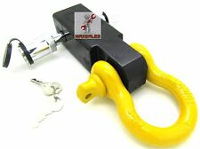 "New Solid Shank SHACKLE YELLOW D-Ring Receiver Hitch W/ 5/8"" Hitch Pin Lock"