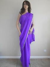 Georgette Purple Saree with Shining Silver thread Embroidery Bollywood Style