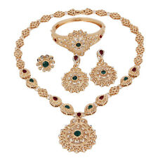 Fashion  Red Green Zircon Pendant Necklace Earrings Set Weeding Jewelry Sets