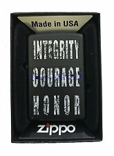 Zippo Custom Lighter Integrity Courage Honor Blue Line Police Support