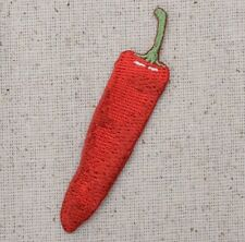 Iron On Embroidered Applique Patch Large Red Hot Chili Pepper Jalapeno