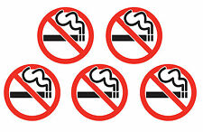 5x NO SMOKING sticker sign red, white & black Self Adhesive small 30mm Dia.