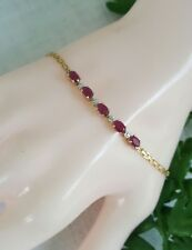 Estate a 10 karat yellow gold natural Ruby and diamond  Bracelet 2.4 gm.