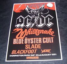 AC/DC Monsters Of Rock Donington Park Saturday 22nd August 1981 concert poster