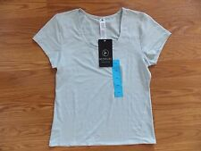 NWT Womens ACTIVE LIFE Light Gray Performance Wicking Fitness Shirt L Large