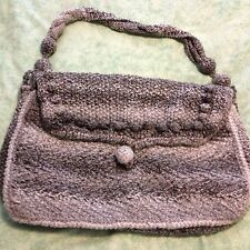 Hand Made Knitted Tote Bag In Grey With Purple Lining