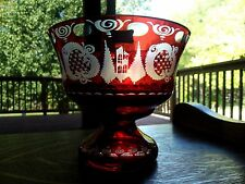 Vintage Egermann signed Centerpeice Bowl Vase glass red cut to clear crystal