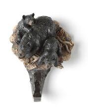 COAT HOOK--Black Bear with Cubs Resin Coat Hook, Key, Hat Holder