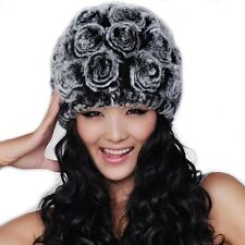 Fashion Women Russian Rabbit Fur Cap Knitted Winter Warm Beanie Hat Black-White