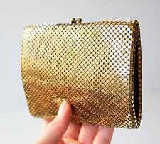 VINTAGE 1960's Gold MESH Metal Wallet BILLFOLD COIN PURSE Kiss Lock Combo Retro