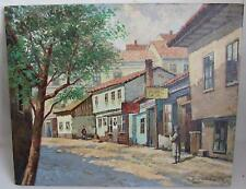 Original 1995 Serbian Oil Painting of Town on Canvas by Branko Veljkovic