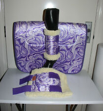 CAPRIOLE HORSE ACCESS PURPLE VELVET SWIRL SADDLE CLOTH/PAD BOOTS SET STAND SIZE