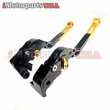 04-08 YAMAHA YZF R1 FOLDING EXTENDABLE BRAKE CLUTCH LEVERS ANODIZED BLACK BILLET