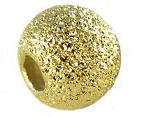 925er Sterling Silber - Perlen. Hohlkugel. 6mm. Glitzer. Vergoldet. 2 Stück