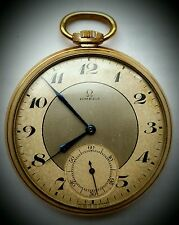 OMEGA ANTIQUE GOLD/P 2-TONE POCKET WATCH 37.6L.15P 1934