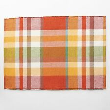 "Harvest Season Plaid Ribbed Multi-color 13"" X 18"" Fabric Place Mat Set Of 4 NEW"