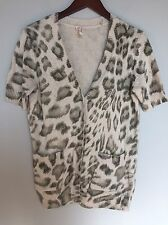 REBECCA TAYLOR Sz L Beige Animal Print Short Sleeve Cardigan Sweater