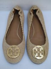 TORY BURCH Reva beige snake texture leather gold logo ballet flats shoes size 8