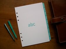 A5 Size A-Z Address DIVIDERS 'Turquoise/Light Teal' #708 - Fits FILOFAX - 9 Tabs