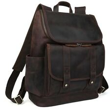 Men's Large Real Bull Leather Backpack Laptop Camping Hiking Travel Bag Carry On